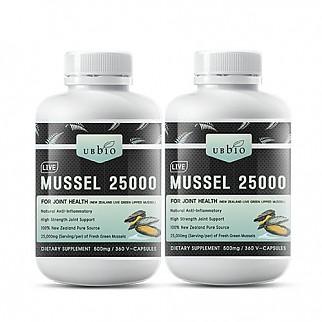 [유비바이오] 생 초록입홍합25000mg 360캡슐(고함량) 2개 / 무릎관절에좋은영양제