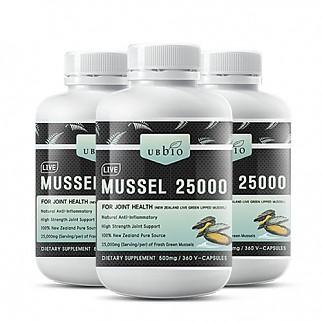 [유비바이오] 생 초록입홍합25000mg 360캡슐(고함량) 3개 / 무릎관절에좋은영양제