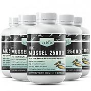 [유비바이오] 생 초록입홍합25000mg 360캡슐(고함량) 6개 / 무릎관절에좋은영양제