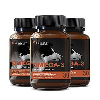 [펫 아일랜드] 오메가3 (DHA& EPA 강아지 영양제) 피부,피모 30캡슐 3개