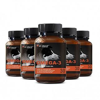 [펫 아일랜드] 오메가3 (DHA& EPA 강아지 영양제) 피부,피모 30캡슐 6개